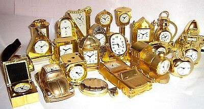 MINI - NOVELTY CLOCKS - GILDED  BRASS  EFFECT click SELECT to browse / order