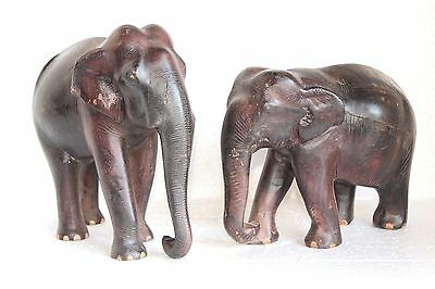 Wooden Elephant Figure Hand Carved Painted Vintage Old Antique Y-38