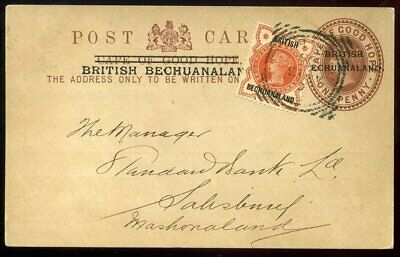 British Bechuanaland 1895 1d Brown Stationery Uprated 1⁄2d