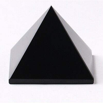 5cm Natural Reiki Energy Charged Obsidian Pyramid Crystal Protective Healing