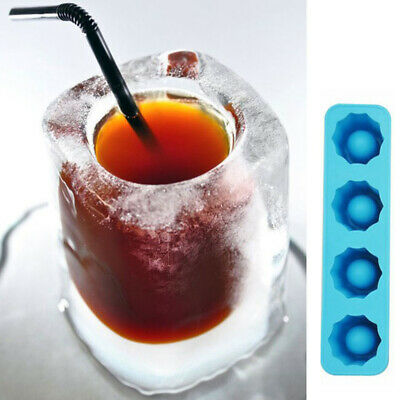 4 Cup Ice Cube Tray Mold Makes Shot Glasses Novelty Gifts Summer Drink Tool