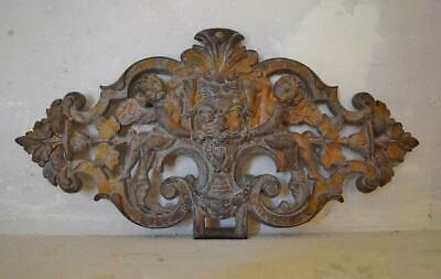Superb Antique French Cast Iron Architectural Mount, Plaque With Cherubs, 19thC