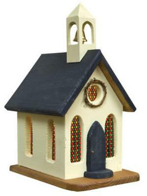 Primitive LIGHTED CHURCH WITH BELL Saltbox Country Farmhouse Rustic Wood