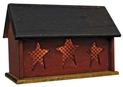 Primitive LIGHTED HOUSE W/ THREE STARS Saltbox Country Farmhouse Rustic Wood