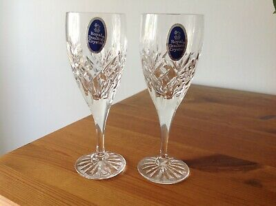 One Pair Royal Doulton Crystal Sherry Glasses