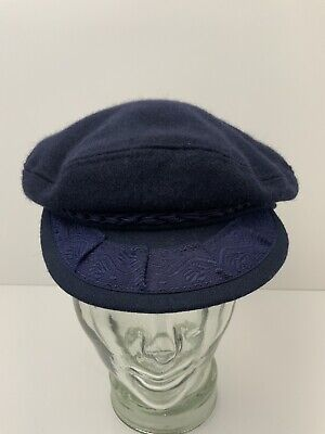 Vintage Greek Fisherman Captain Hat Wool Large 7 3/8 Dark Blue Made In Greece