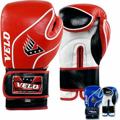 VELO Leather Boxing Gloves MMA Fighting Sparring Punch Bag Training Muay Thai H
