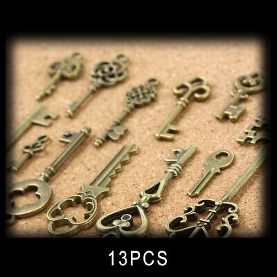 13* Vintage Old Look Skeleton Keys Lot Bronze Tone Pendant Jewelry Mix New