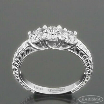 14 Kt White Gold Three Stones Diamond Ring 2.18 Ct Side Stones Vs1 D Ornate