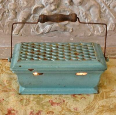 Antique French Enamelled Cast Iron Foot Warmer / Food Warmer 19th Century