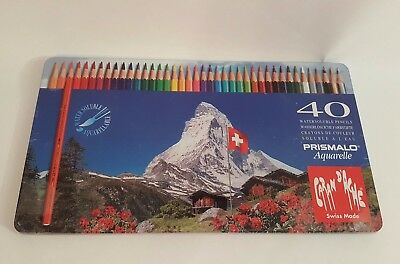 New Caran d'Ache set 40 Watersoluble Color Pencils Prismalo Aquarelle Swiss