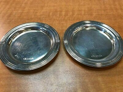 "2 Pc CHRISTOFLE France 3"" small coaster OR butter pat dish"