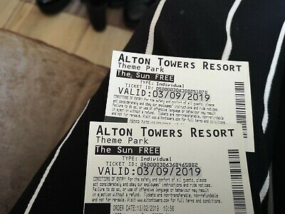 2 x Alton Towers tickets 3rd September 03 09 2019