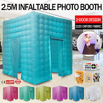 2 Doors Inflatable LED Light Photo Booth 2.5M Air Tent Wedding Party + Control