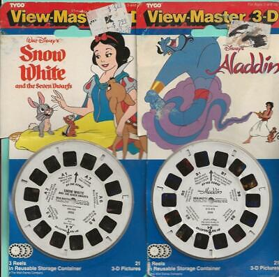 View Master 3-D Snow White & Aladdin (3) Reels Each 1991 & 1993