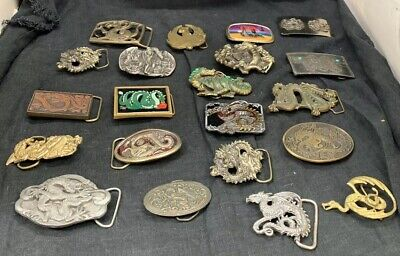 LOT OF 21 Antique Brass Dragon Belt Buckles years 1978-1983