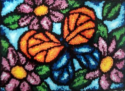 "Latch Hook Rug   Canvas Kit ""Stained Glass Butterfly"""