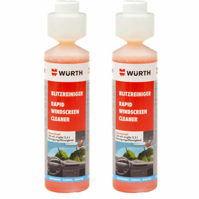 2x NEW Wurth SUMMER RAPID Screen Cleaner Screenwash Concentrate 250ml 0892333250