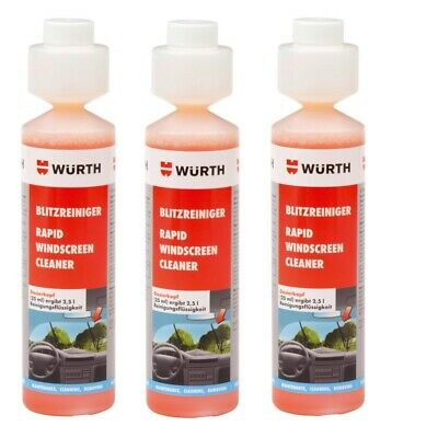 3x NEW Wurth SUMMER RAPID Screen Cleaner Screenwash Concentrate 250ml 0892333250