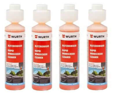 4x NEW Wurth SUMMER RAPID Screen Cleaner Screenwash Concentrate 250ml 0892333250