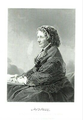Harriet Beecher Stowe - Abolitionist  & Author - Engraved after Alonso Chappel