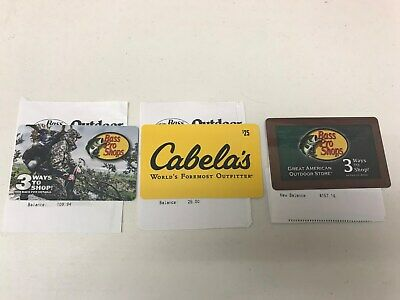Bass Pro Shops and Cabelas Gift Cards 3 total.