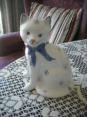 """Vintage Rye Pottery Cat Posed Sitting  5.50 """"High, Hand Painted Design Blue Bow"""