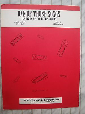 One Of Those Songs - Gerhard Calvi - 1958 - Original Musiknote