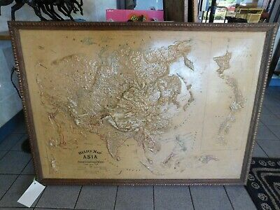 1895 Antique Central School House Supply Asia Relief Map