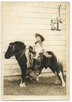 """Vintage Snapshot Photo Hidden Mother Supporting Child On Pony 5""""x7"""""""