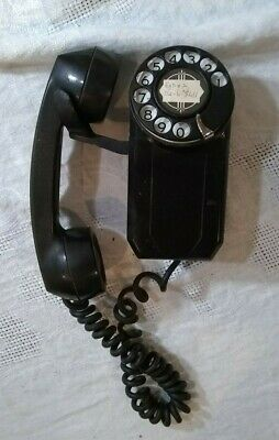 Vintage Automatic Electric Rotary Wall Mount Telephone Dial Phone Black