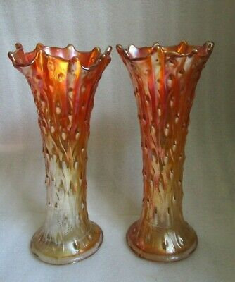 Pr Antique NORTHWOOD Signed MARIGOLD Iridescent TREE TRUNK CARNIVAL GLASS VASES!