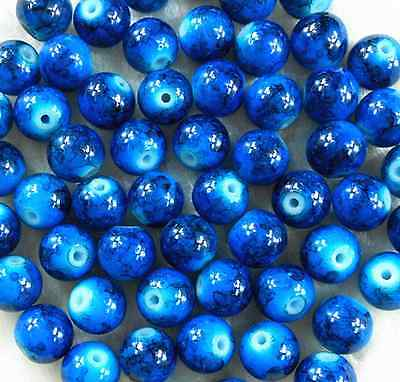 200Pcs 4mm Blue Lampwork Glass Spacer Loose Beads