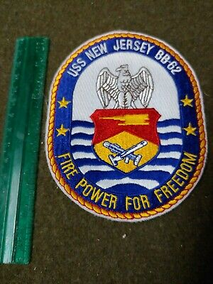 7bc8c374 Uss New Jersey Bb - 62 Fire Power For Freedom Us Navy Military Patch New !