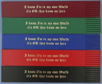 "Leather Bookmarks. Foil Blocked in Gold. ""In my own world!"" Gift/Keepsake"