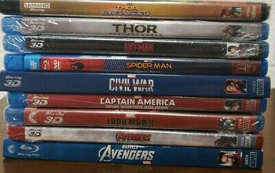 Lot of 9 Marvel Cinematic Universe Blu-ray Movies: Iron Man Thor Avengers, 3D 4K