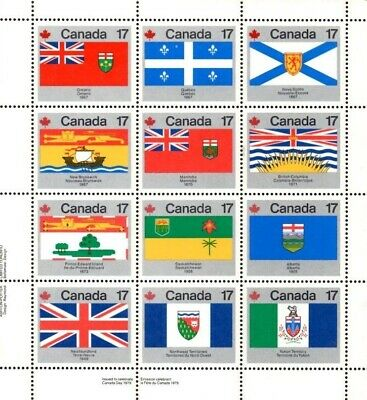 """1979 """"Canada Day"""" Province Flag Stamp Sheet"""
