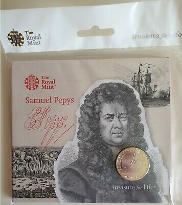 Samuel Pepys 2019 50p Coin Brilliant Uncirculated Royal Mint Pack Sealed