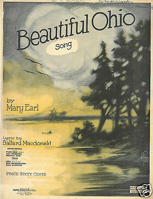 Mary Earl - Beautiful Ohio - 1918 - Walzer - Origiginal Usa Musiknote