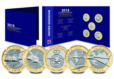 2018 Complete RAF £2 Coin Collecting Pack All 5 Coins