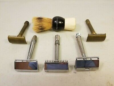 Lot of 5 Vintage Safety Razors (3 Gem & 2 Gillette) & 1 Peerless Shaving Brush