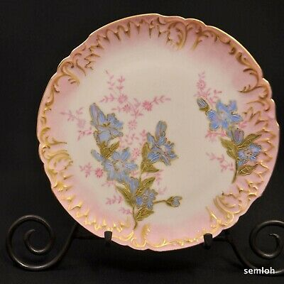 JPL Jean Pouyat Limoges Plate Hand Painted Pink Blue Flowers Raised Gold 1892