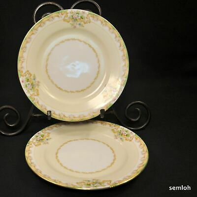 Noritake M-in-Wreath Set of 2 Salad Plates 1918 Hand Painted Floral w/Gold Japan