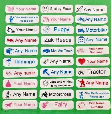 18 Printed Iron-On Name Tags Tapes Custom Labels School Clothes Personalised Kid
