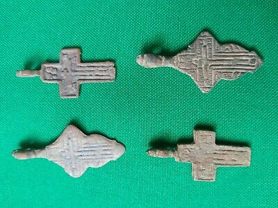 Russian Orthodox Christian Byzantine Schema Style Cross 19th century 4 pieces ##