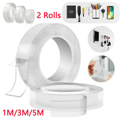 2 Rolls Nano Traceless Tape Magic Washable Adhesive Tape Double Sided Clear Tape