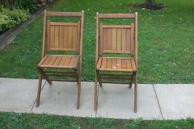 2 Vintage Wooden Folding Chairs Wood Slat Seats NRA Logo On Back Old Antique