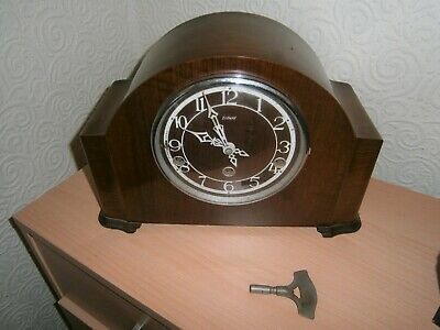 Vintage Early Wooden Cased Enfield clock co Mantle Westminster Chiming Clock.