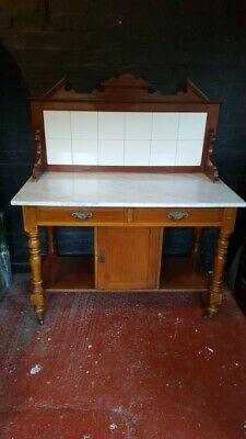 Marble Top Wash Stand With Tiled Splashback. Mahogany.