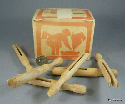 Vintage Box of 30 x Hardwood DOLLY PEGS - For Laundry or Crafts - Saucy Artwork